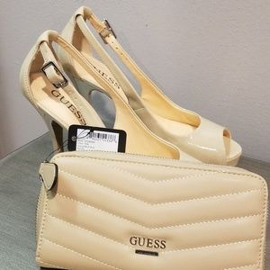 Nude Guess Pumps with matching wallet